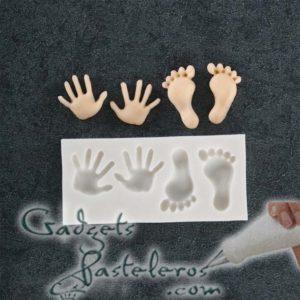 molde silicona mini manos y pies