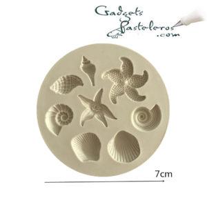 molde silicona conchas marinas miniatura