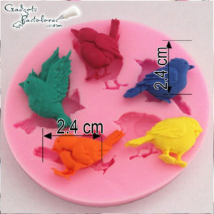 molde silicona mini aves