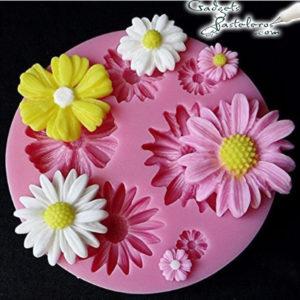 molde silicona mini flores surtidas