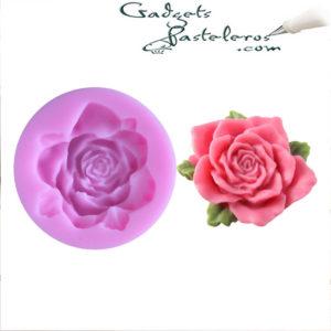 molde silicona mini rosa 3d con hojas