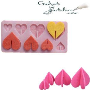 molde silicona corazones 3d