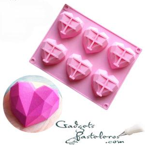 molde silicona corazones x 6 geometricos