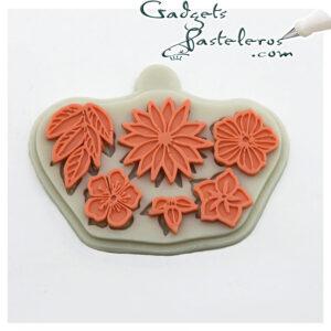 desing molde silicona flores variadas