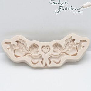 molde silicona angeles con flores