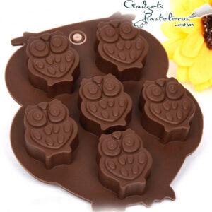 molde silicona chocolates buhos x 6