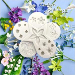 molde silicona mini flores variadas